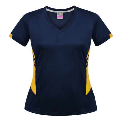 Image of Womens Tasman Tee - Colours Navy / Gold