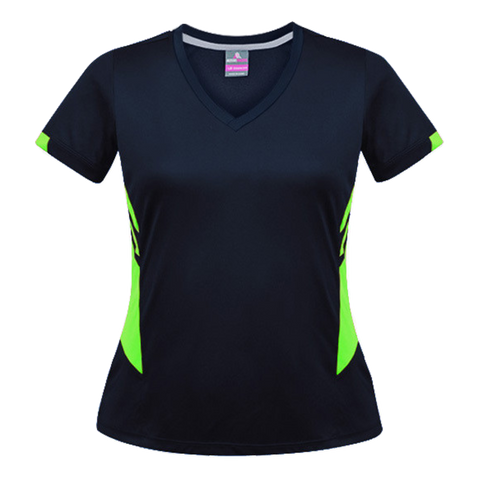 Image of Womens Tasman Tee, Colours: Navy / Neon Green