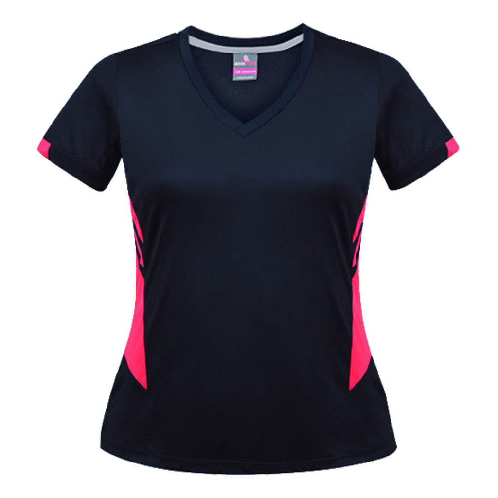 Womens Tasman Tee, Colours: Navy / Neon Pink