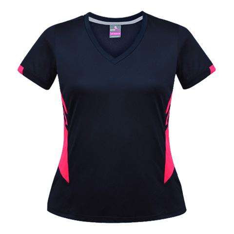 Image of Womens Tasman Tee, Colours: Navy / Neon Pink