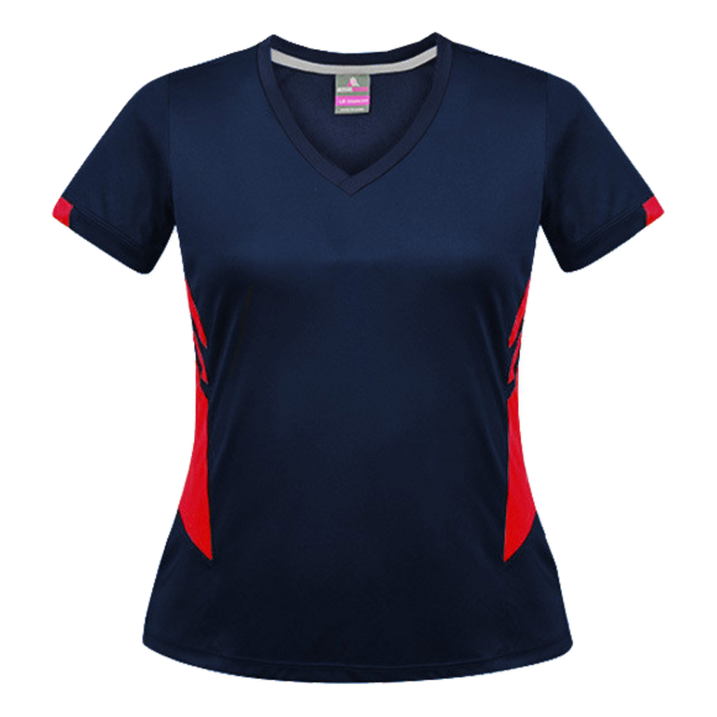 Womens Tasman Tee, Colours: Navy / Red