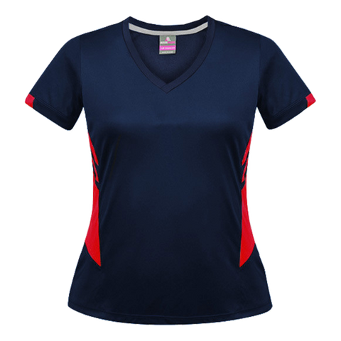 Image of Womens Tasman Tee - Colours Navy / Red