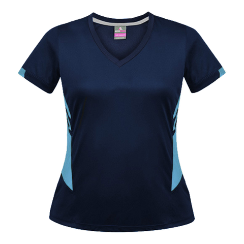Image of Womens Tasman Tee, Colours: Navy / Sky