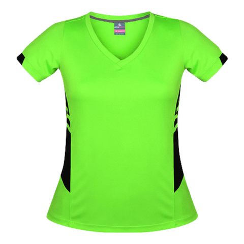 Image of Womens Tasman Tee, Colours: Neon Green / Black