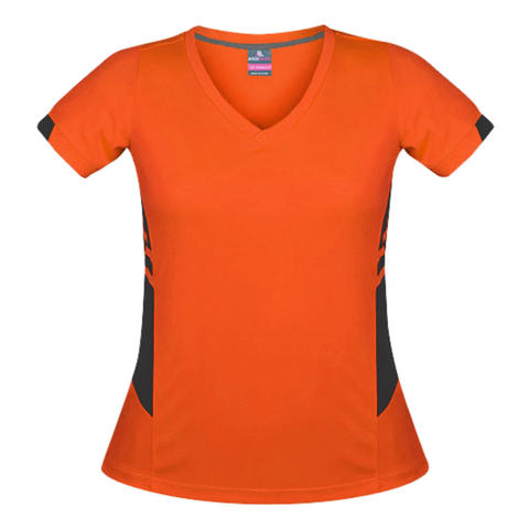 Image of Womens Tasman Tee - Colours Neon Orange / Slate