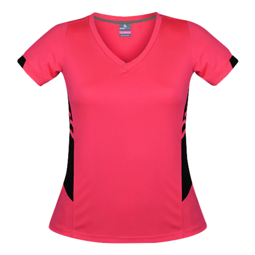 Womens Tasman Tee, Colours: Neon Pink / Black