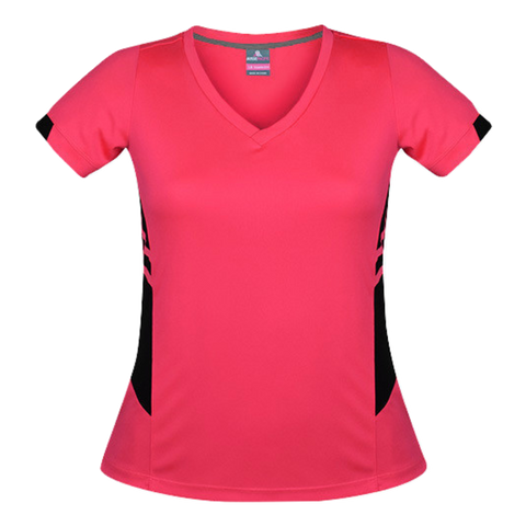 Image of Womens Tasman Tee, Colours: Neon Pink / Black