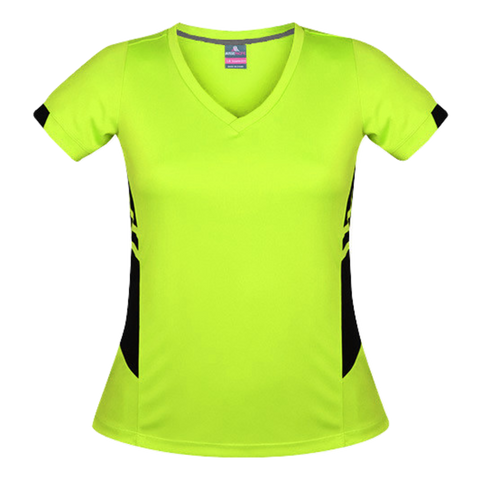 Image of Womens Tasman Tee, Colours: Neon Yellow / Black