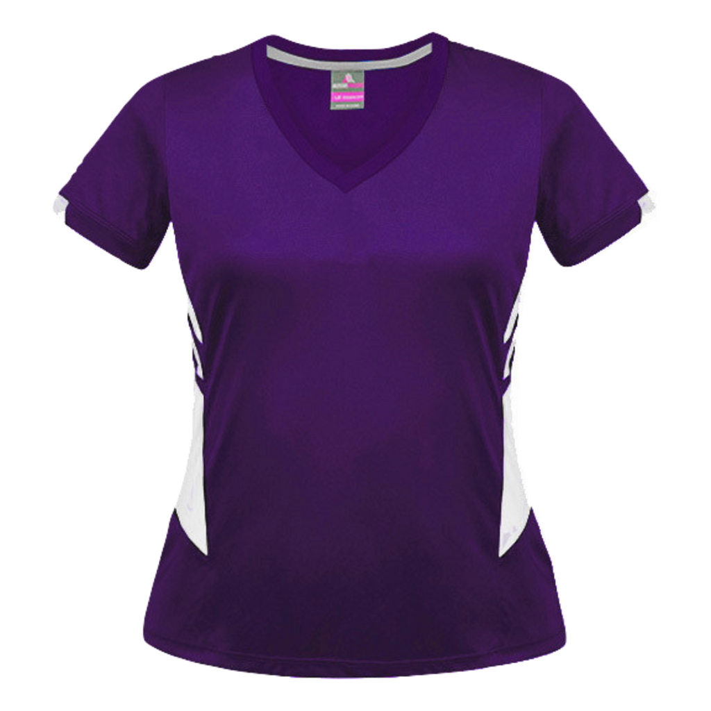 Womens Tasman Tee, Colours: Purple / White