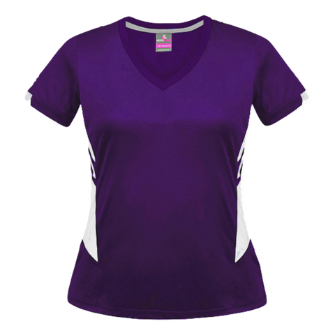 Image of Womens Tasman Tee - Colours Purple / White