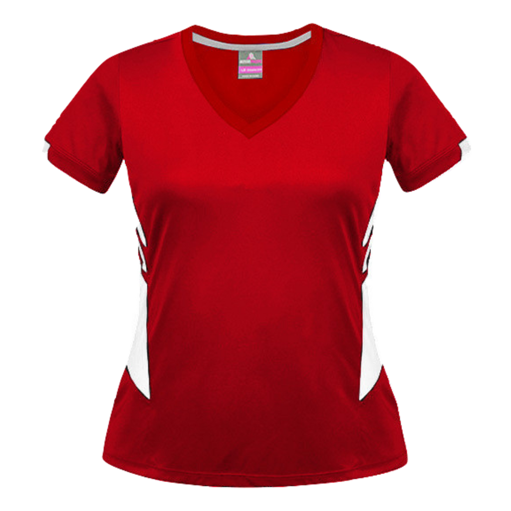 Womens Tasman Tee, Colours: Red / White