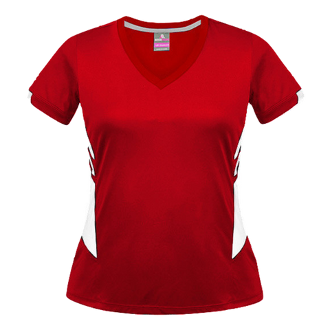 Image of Womens Tasman Tee, Colours: Red / White