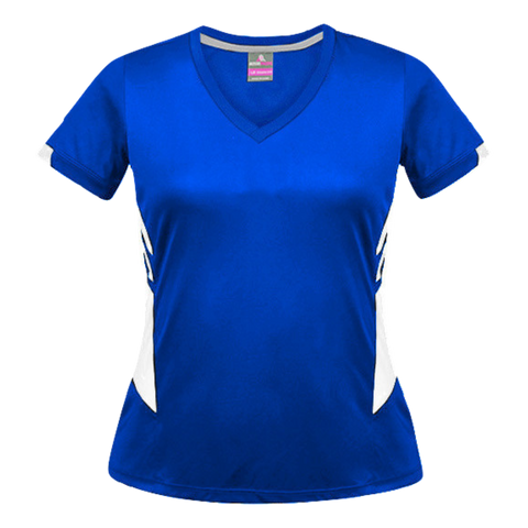 Image of Womens Tasman Tee, Colours: Royal / White