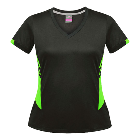 Image of Womens Tasman Tee - Colours Slate / Neon Green