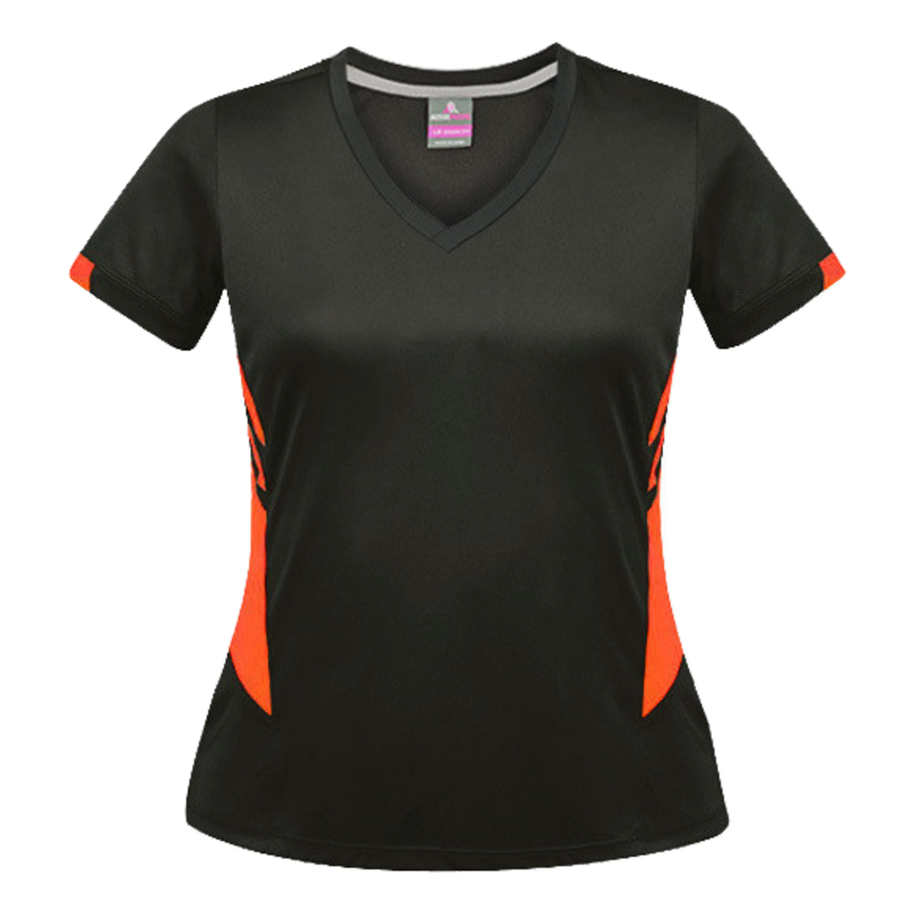 Womens Tasman Tee, Colours: Slate / Neon Orange