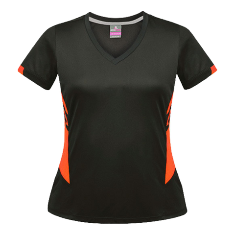 Image of Womens Tasman Tee, Colours: Slate / Neon Orange