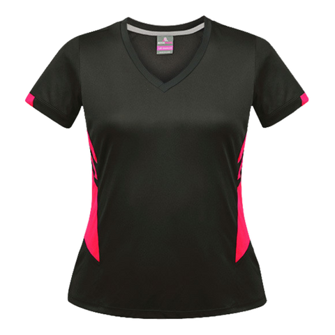 Image of Womens Tasman Tee - Colours Slate / Neon Pink