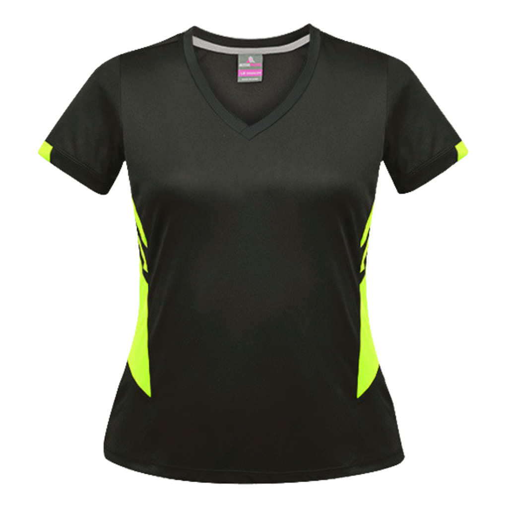 Womens Tasman Tee, Colours: Slate / Neon Yellow