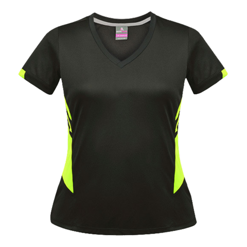Image of Womens Tasman Tee, Colours: Slate / Neon Yellow