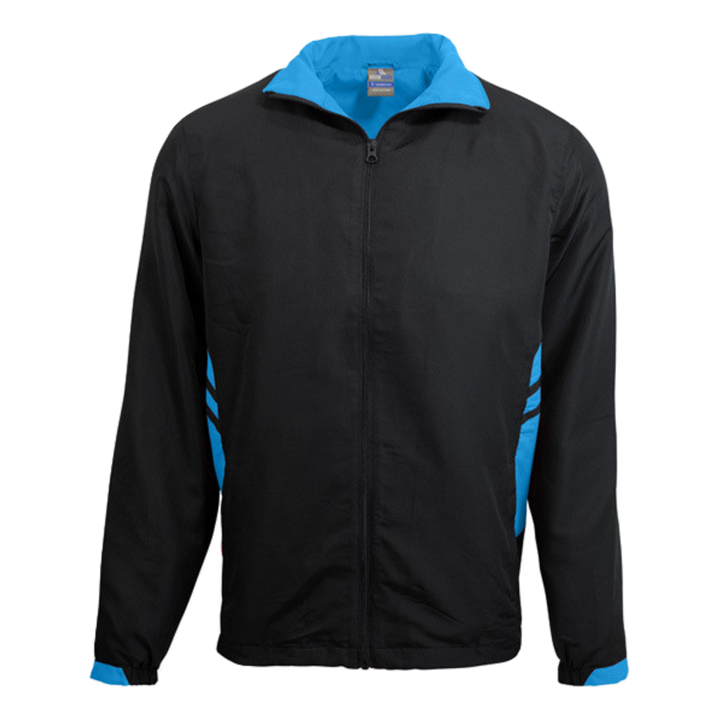 Adults Tasman Track Jacket - Colours Black / Cyan