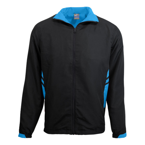 Adults Tasman Track Jacket, Colours: Black / Cyan