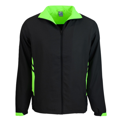 Adults Tasman Track Jacket, Colours: Black / Neon Green