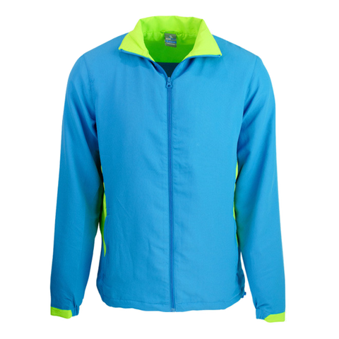 Adults Tasman Track Jacket, Colours: Cyan / Neon Green