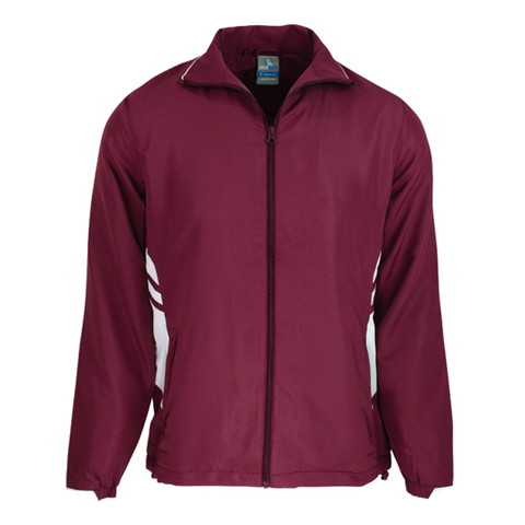 Adults Tasman Track Jacket, Colours: Maroon / White