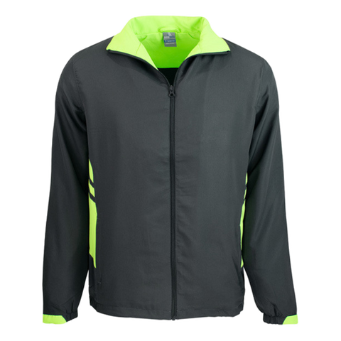 Adults Tasman Track Jacket, Colours: Slate / Neon Green