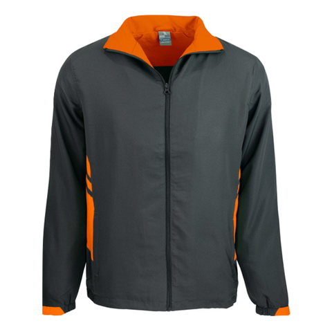 Adults Tasman Track Jacket, Colours: Slate / Neon Orange