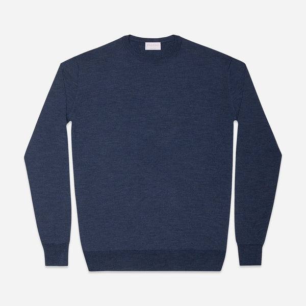 Extra Fine Crewneck in Blue, Made from Cashwool by Zegna Baruffa, view from above – FILOFINO Luxury Italian Knitwear