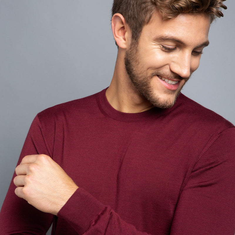 Extra Fine Merino Wool Crewneck in Burgundy Red, detail of collar on model – FILOFINO Luxury Italian Knitwear