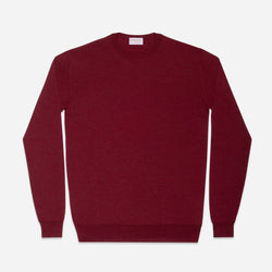 Extra Fine Crewneck in Burgundy Red, Made from Cashwool by Zegna Baruffa, view from above – FILOFINO Luxury Italian Knitwear