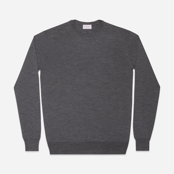 Extra Fine Crewneck in Charcoal, Made from Cashwool by Zegna Baruffa, view from above – FILOFINO Luxury Italian Knitwear
