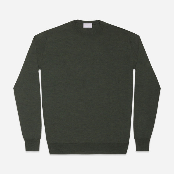 Extra Fine Crewneck in Dark Green, Made from Cashwool by Zegna Baruffa, view from above – FILOFINO Luxury Italian Knitwear