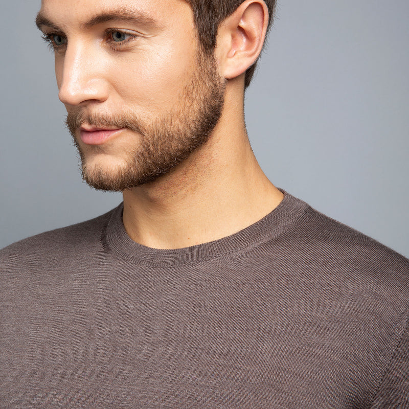 Extra Fine Merino Wool Crewneck in Hazelnut, detail of collar on model – FILOFINO Luxury Italian Knitwear