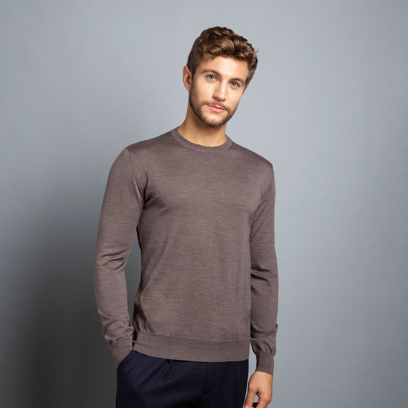 Extra Fine Crewneck in Hazelnut, Made from Cashwool Merino wool sourced from the finest Australian sheep – FILOFINO Luxury Italian Knitwear