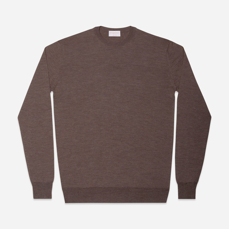 Extra Fine Crewneck in Hazelnut, Made from Cashwool by Zegna Baruffa, view from above – FILOFINO Luxury Italian Knitwear