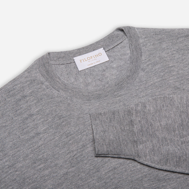 Extra Fine Merino Wool Crewneck in Light Grey, detail of collar and sleeve – FILOFINO Luxury Italian Knitwear