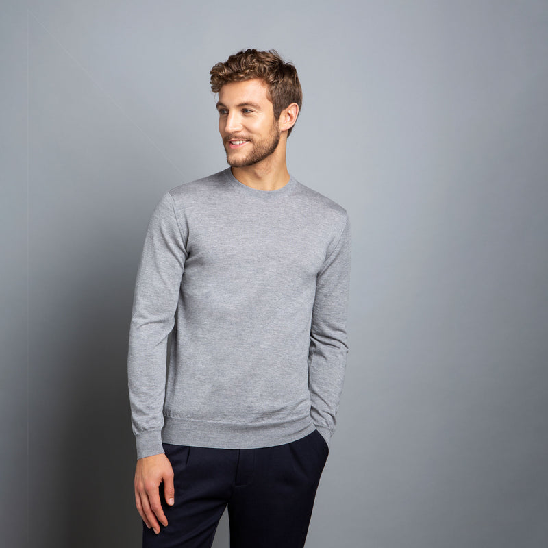 Extra Fine Crewneck in Light Grey, Made from Cashwool Merino wool sourced from the finest Australian sheep – FILOFINO Luxury Italian Knitwear