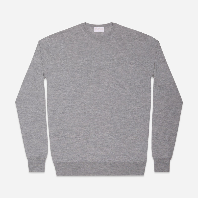 Extra Fine Crewneck in Light Grey, Made from Cashwool by Zegna Baruffa, view from above – FILOFINO Luxury Italian Knitwear