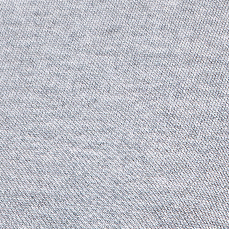 Extra Fine Merino Wool Crewneck in Light Grey, detail of yarn and knit stitch – FILOFINO Luxury Italian Knitwear