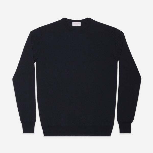 Extra Fine Crewneck in Navy, Made from Cashwool by Zegna Baruffa, view from above – FILOFINO Luxury Italian Knitwear
