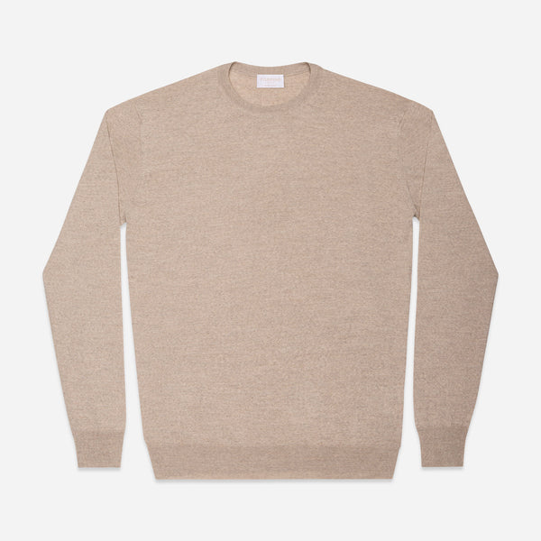 Extra Fine Crewneck in Oatmeal, Made from Cashwool by Zegna Baruffa, view from above – FILOFINO Luxury Italian Knitwear