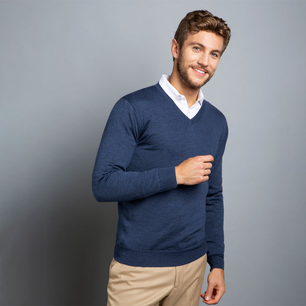Extra Fine V-Neck in Blue, Made from Cashwool Merino wool sourced from the finest Australian sheep – FILOFINO Luxury Italian Knitwear