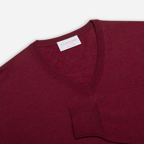 Extra Fine Merino Wool V-Neck in Burgundy Red, detail of collar and sleeve – FILOFINO Luxury Italian Knitwear