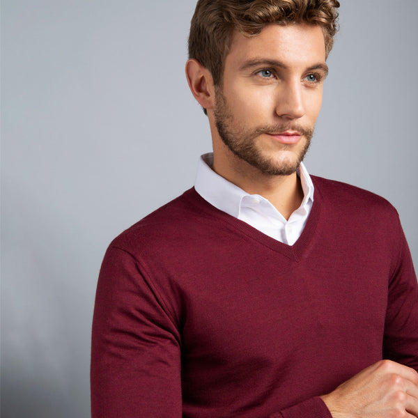 Extra Fine Merino Wool V-Neck in Burgundy Red, detail of collar on model – FILOFINO Luxury Italian Knitwear