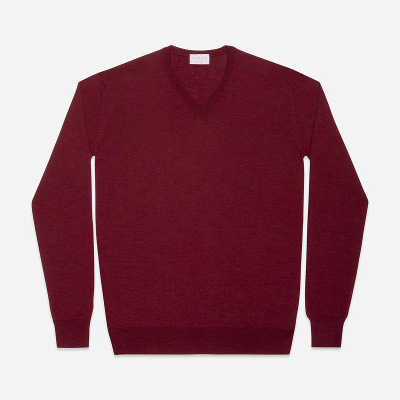 Extra Fine  V-Neck in Burgundy Red, Made from Cashwool by Zegna Baruffa, view from above – FILOFINO Luxury Italian Knitwear