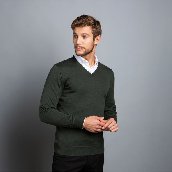 Extra Fine V-Neck in Dark Green, Made from Cashwool Merino wool sourced from the finest Australian sheep – FILOFINO Luxury Italian Knitwear