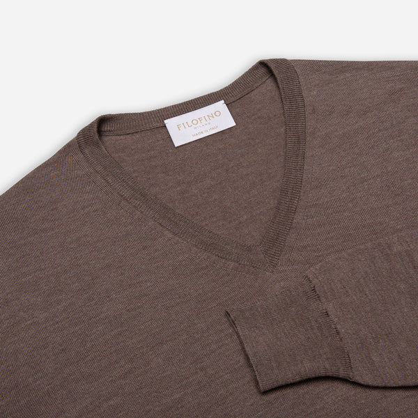 Extra Fine Merino Wool V-Neck in Hazelnut, detail of collar and sleeve – FILOFINO Luxury Italian Knitwear